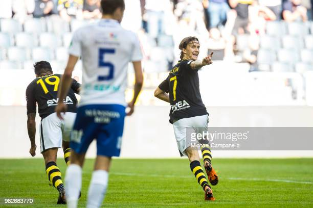 Kristoffer Olsson of AIK celebrates scoring the 10 goal during an Allsvenskan match between AIK and IFK Norrkoping at Friends Arena on May 26 2018 in...