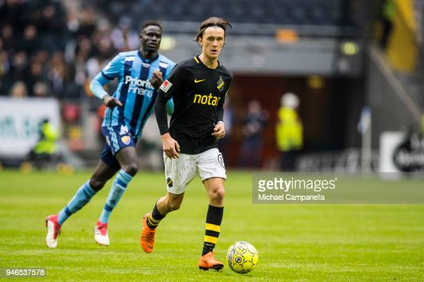 Kristoffer Olsson of AIK during an Allsvenskan match between AIK and Djurgardens IF at Friends arena on April 15 2018 in Solna Sweden