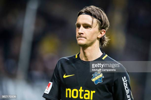 Kristoffer Olsson of AIK during an Allsvenskan match between AIK and IK Sirius at Friends Arena on April 27 2018 in Solna Sweden