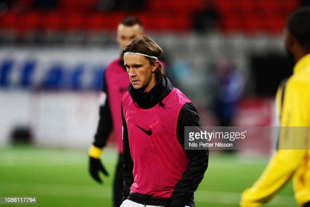 Kristoffer Olsson of AIK during warm up ahead of the Allsvenskan match between Ostersunds FK and AIK at Jamtkraft Arena on November 1 2018 in...