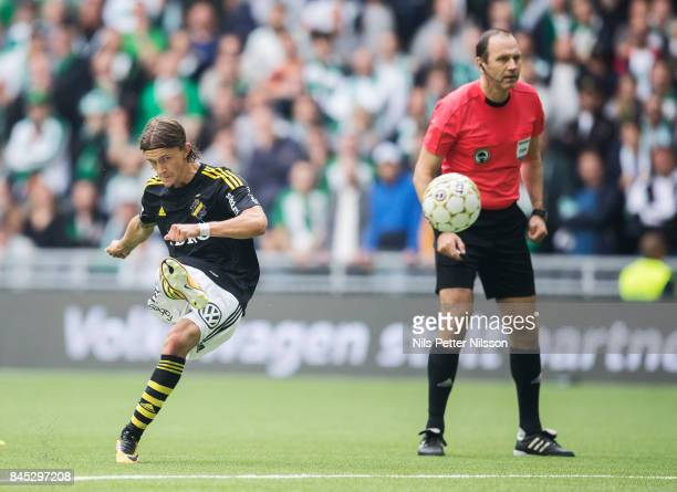 Kristoffer Olsson of AIK scores to 11 with a free kick during the Allsvenskan match between Hammarby IF and AIK at Tele2 Arena on September 10 2017...