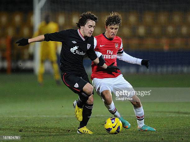 Kristoffer Olsson of Arsenal tackles Unai Lopez of Bilbao during the NextGen Series match between Arsenal and Athletico Bilbao at Underhill Stadium...