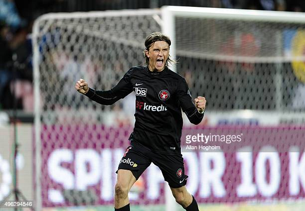 Kristoffer Olsson of FC Midtjylland celebrates after scoring their fourth goal during the Danish Alka Superliga match between FC Midtjylland and...