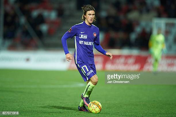 Kristoffer Olsson of FC Midtjylland controls the ball during the Danish Alka Superliga match between Silkeborg IF and FC Midtjylland at Mascot Park...