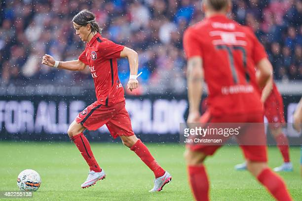 Kristoffer Olsson of FC Midtjylland controls the ball during the UEFA Champions League Qualification match between FC Midtjylland and APOEL Nicosia...
