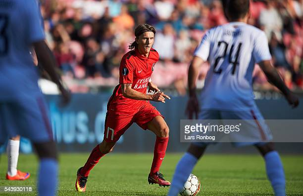 Kristoffer Olsson of FC Midtjylland in action during the Europa League Qualifier match between FC Midtjylland and FK Suduva at MCH Arena on June 30...