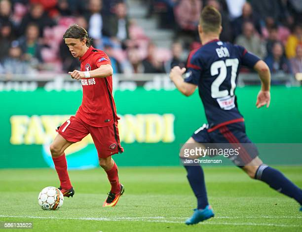 Kristoffer Olsson of FC Midtjylland in action during the UEFA Europa League match between FC Midtjylland and Videoton FC at MCH Arena on August 04...