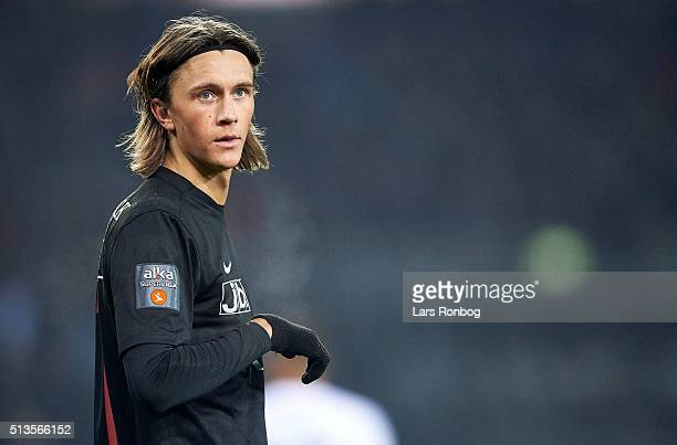 Kristoffer Olsson of FC Midtjylland looks on during the Danish Alka Superliga match between FC Midtjylland and FC Copenhagen at MCH Arena on March 3...