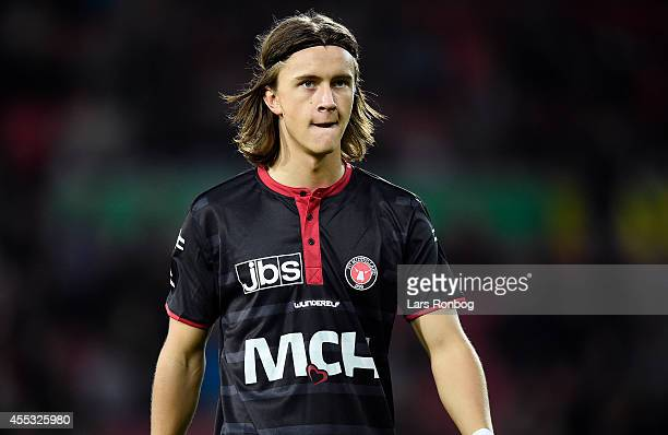 Kristoffer Olsson of FC Midtjylland looks on during the Danish Superliga match between FC Midtjylland and OB Odense at MCH Arena on September 12 2014...