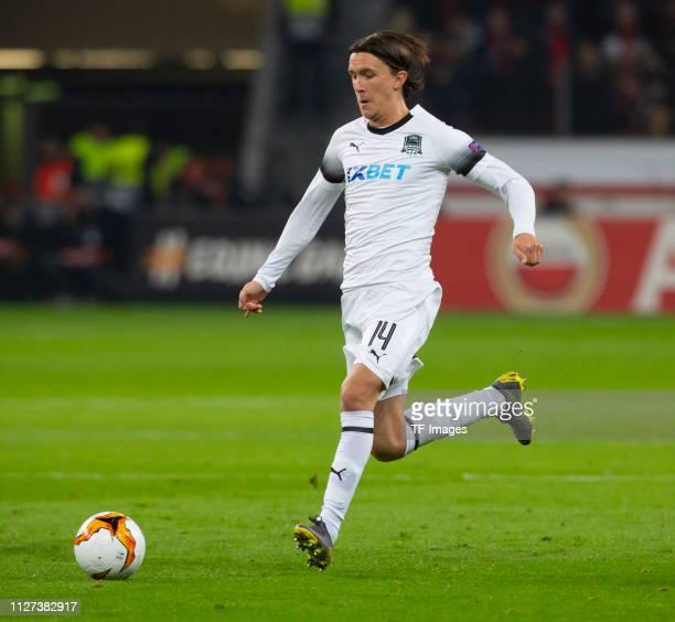 Kristoffer Olsson of FK Krasnodar controls the ball during the UEFA Europa League Round of 32 Second Leg match between Bayer 04 Leverkusen and FK...