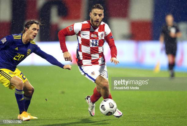 Kristoffer Olsson of Sweden and Nikola Vlasic of Croatia and during the UEFA Nations League group stage match between Croatia and Sweden at Stadion...