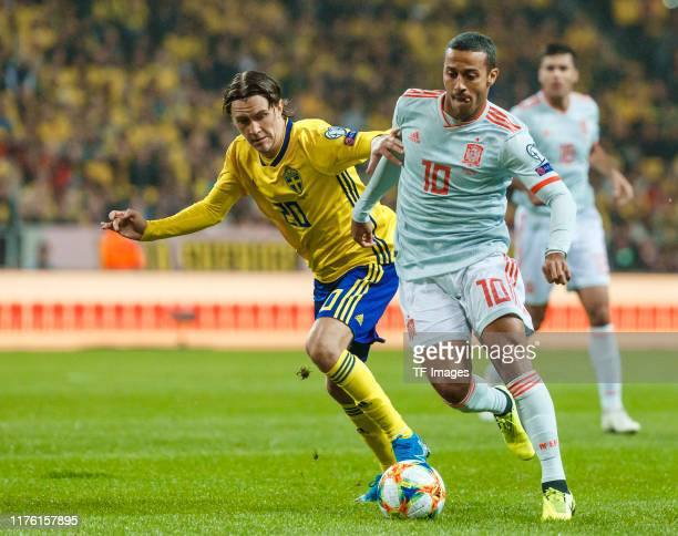 Kristoffer Olsson of Sweden and Thiago Alcantara of Spain battle for the ball during the UEFA Euro 2020 qualifier between Sweden and Spain on October...
