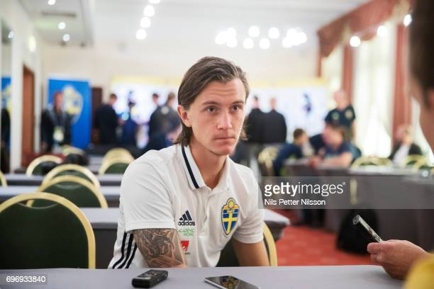 Kristoffer Olsson of Sweden is being interviewed during a press meeting with the Swedish U21 national team at IBB Grand Hotel Lublinianka on June 17...