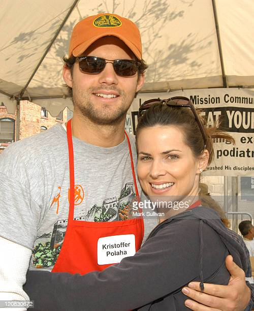 Kristoffer Palaha and Julianne Morris during Los Angeles Mission 2003 Easter Meals For The Homeless at Los Angeles Mission in Los Angeles California...