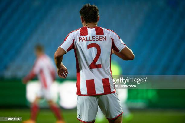 Kristoffer Pallesen of AaB Aalborg in action without sponsor names on the back of his jersey during the Danish 3F Superliga match between AaB Aalborg...