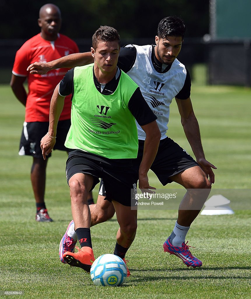 Kristoffer Peterson and Emre Can of Liverpool in action during a training session at Harvard University on July 22, 2014 in Cambridge, Massachusetts.