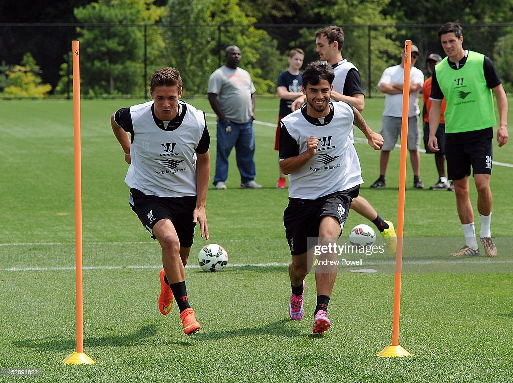 Kristoffer Peterson and Suso of Liverpool in action during a training session at Princeton University on July 29, 2014 in Princeton, New Jersey.