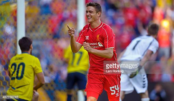 Kristoffer Peterson of Liverpool FC celebrates after scoring their first goal during the PreSeason Friendly match between Brondby IF and Liverpool FC...