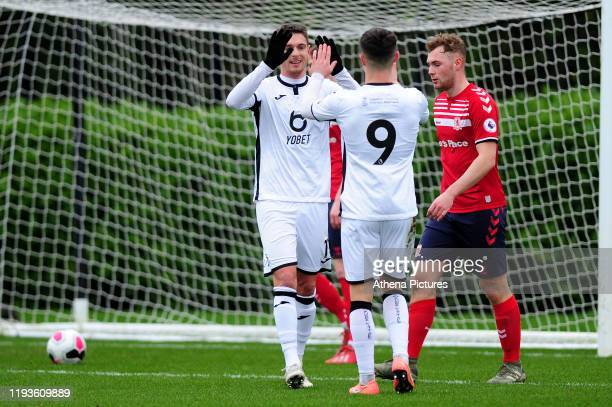 Kristoffer Peterson of Swansea City u23 celebrates scoring the opening goal during the Premier League 2 Division Two match between Swansea City u23s...