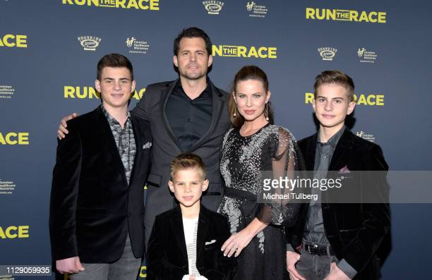 Kristoffer Polaha and family attend the premiere of Roadside Attractions' Run The Race at the Egyptian Theatre on February 11 2019 in Hollywood...
