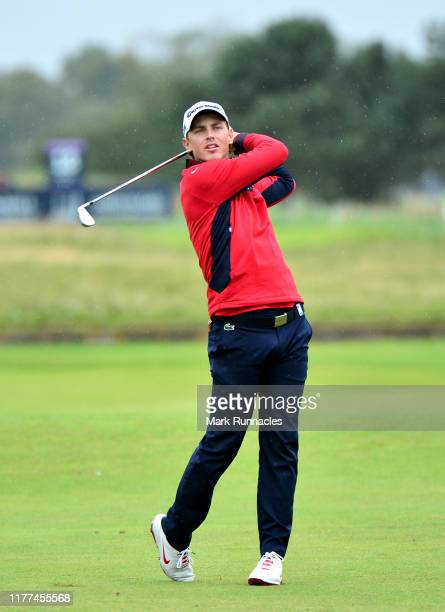 Kristoffer Reitan of Norway on the 18th hole during Day two of the Alfred Dunhill Links Championship at Carnoustie Golf Links on September 27 2019 in...