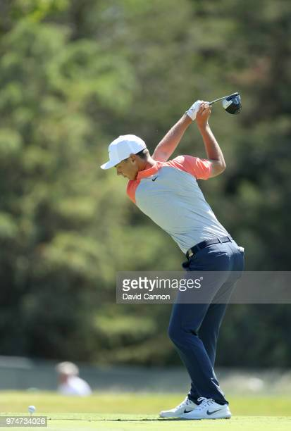 Kristoffer Reitan of Norway plays his tee shot on the sixth hole during the first round of the 2018 US Open at Shinnecock Hills Golf Club on June 14...