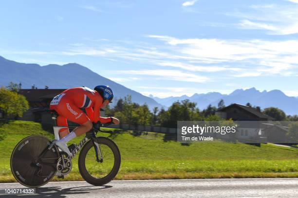 Kristoffer Skjerping of Norway / Landscape / Mountains / during the Men Elite Individual Time Trial a 525km race from Rattenberg to Innsbruck 582m at...