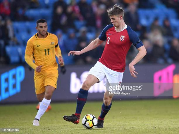 Kristoffer Vassbakk Ajer of Norway moves away from Andrew Nabbout of Australia during the International Friendly match between Norway and Australia...