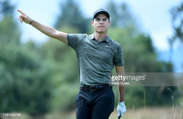 Kristoffer Ventura hits his tee shot on the third hole during the final round of the WinCo Foods Portland Open presented by KraftHeinz at Pumpkin...