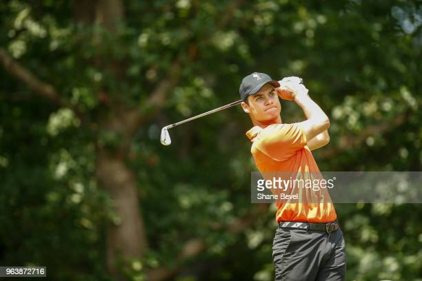 Kristoffer Ventura of Oklahoma State tees off during the Division I Men's Golf Team Match Play Championship held at the Karsten Creek Golf Club on...