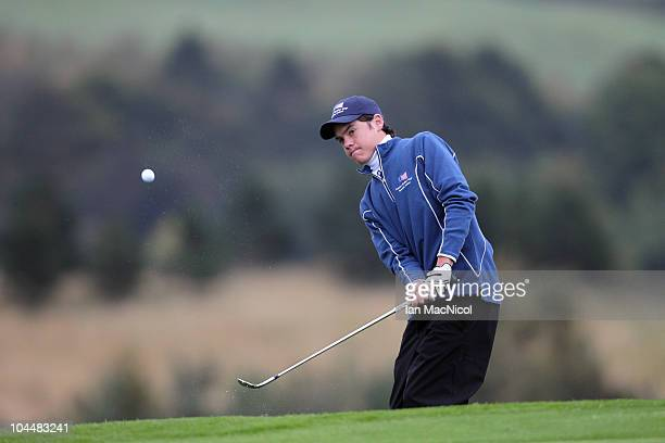 Kristoffer Ventura of the European team during the the first day of play at the Junior Ryder Cup at Gleneagles on September 27 2010 near Muirton...