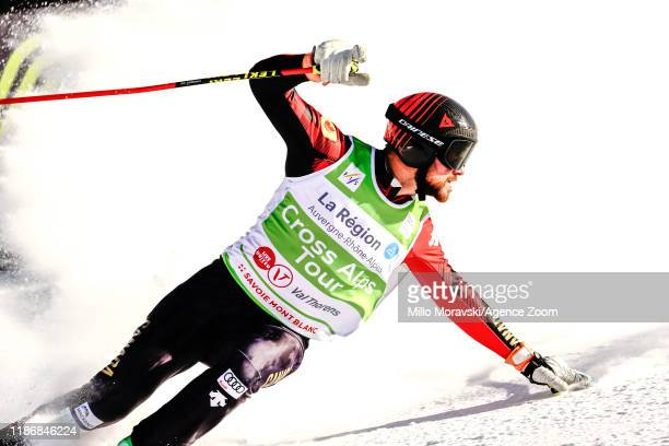 Kristofor Mahler of Canada celebrates during the FIS Freestyle Ski World Cup Men's and Women's Ski Cross on December 7, 2019 in Val Thorens, France.
