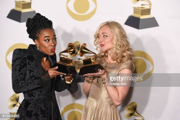 Kristolyn Lloyd and Rachel Bay Jones attend 60th Annual GRAMMY Awards - Press Room at Madison Square Garden on January 28, 2018 in New York City.