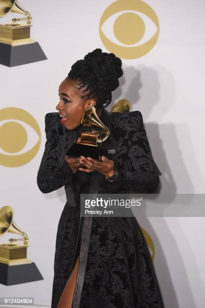Kristolyn Lloyd attends 60th Annual GRAMMY Awards - Press Room at Madison Square Garden on January 28, 2018 in New York City.