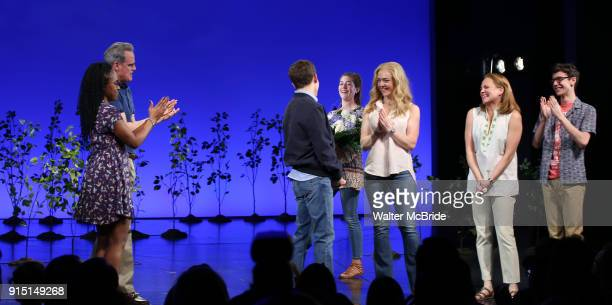 Kristolyn Lloyd Michael Park Laura Dreyfuss Rachel Bay Jones Jennifer Laura Thompson and Ben Levi Ross with Taylor Trench as he takes his bows as the...