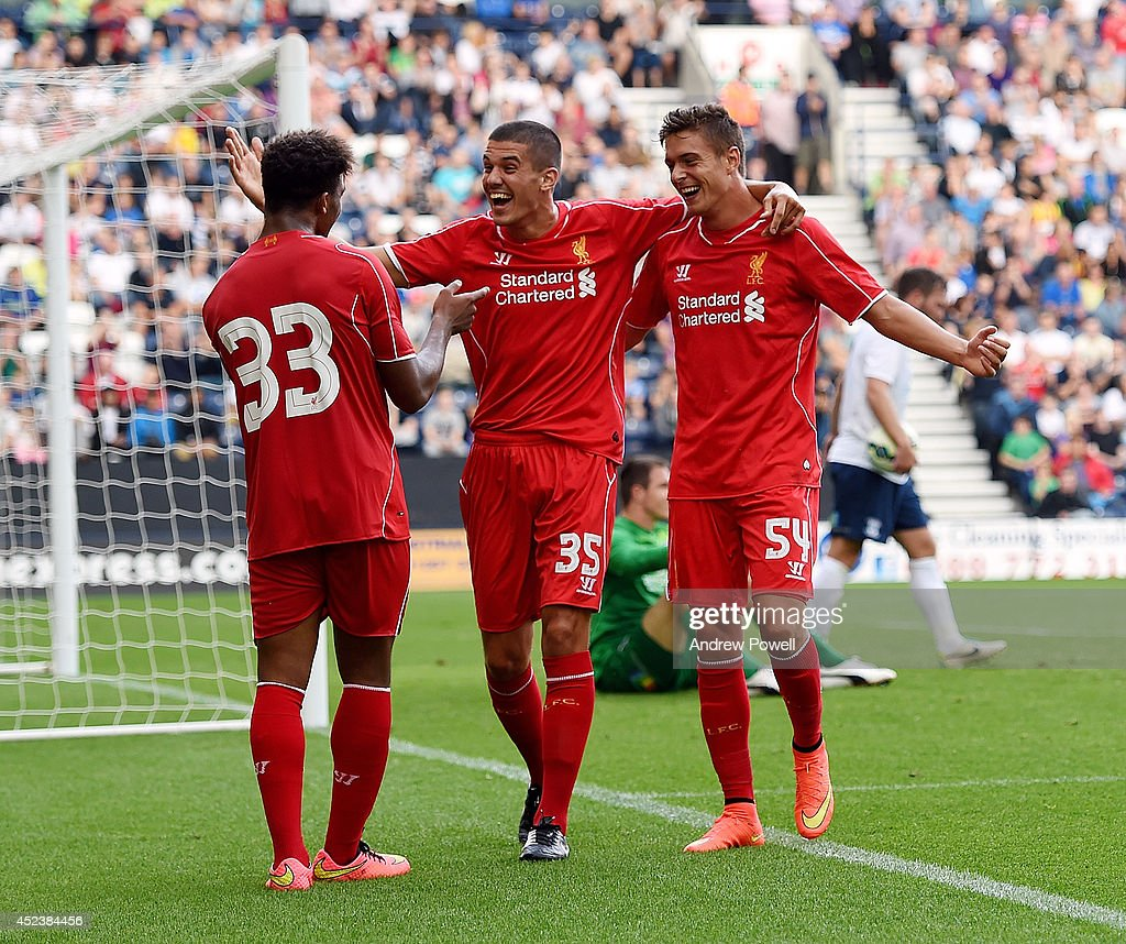 Kristoph Peterson of Liverpool celebrates after scoring the winning goal during the Pre Season friendly match between Preston North End and Liverpool at Deepdale on July 19, 2014 in Preston, Lancashire.