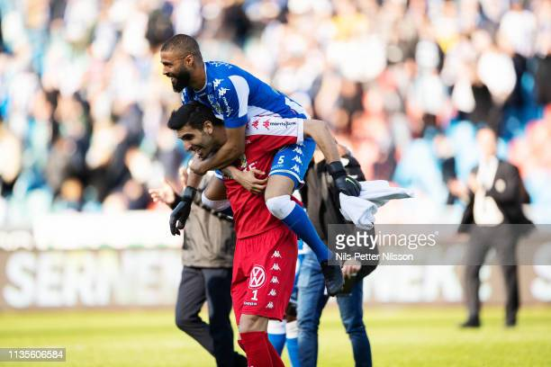 Kristopher da Graca and Ioannis Anestis of IFK Goteborg celebrates after the victory during the Allsvenskan match between IFK Goteborg and IF...