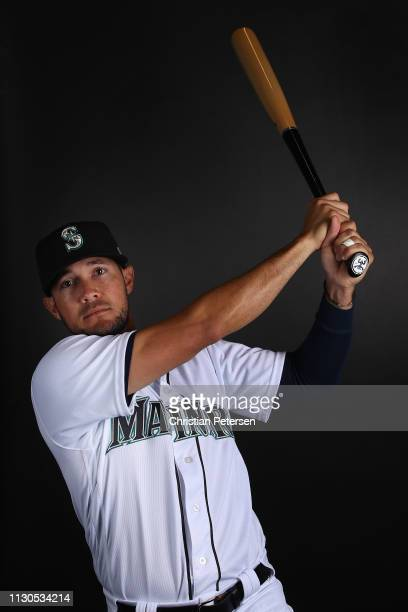 Kristopher Negron of the Seattle Mariners poses for a portrait during photo day at Peoria Stadium on February 18 2019 in Peoria Arizona