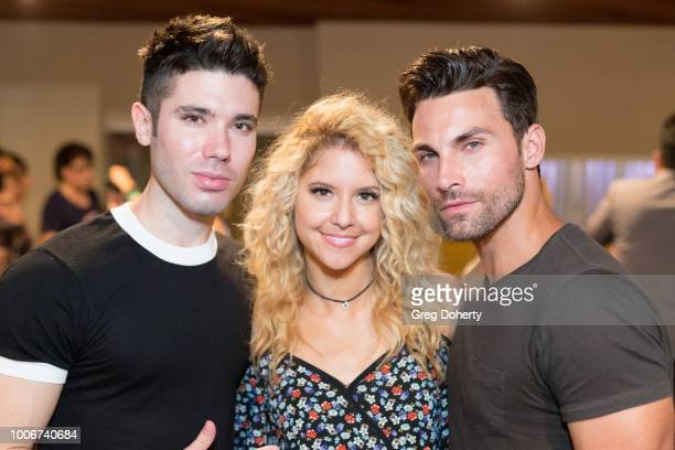 Kristos Andrews Brittany Underwood and Erik Fellows attend The Bay Cast Host Fan Appreciation Event on July 27 2018 in Glendale California
