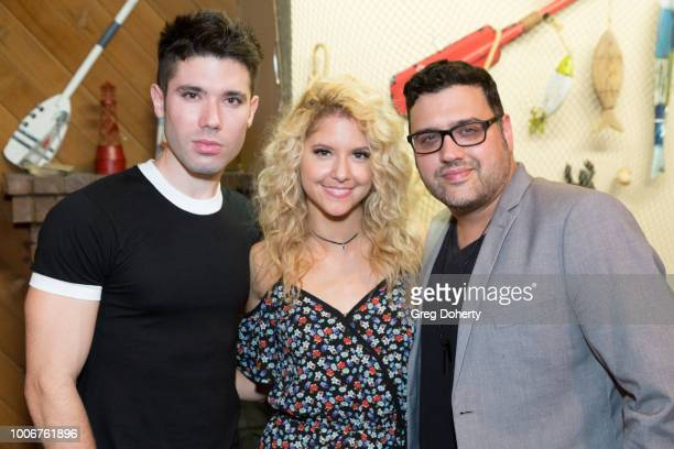 Kristos Andrews Brittany Underwood and Gregori J Martin attend The Bay Cast Host Fan Appreciation Event on July 27 2018 in Glendale California