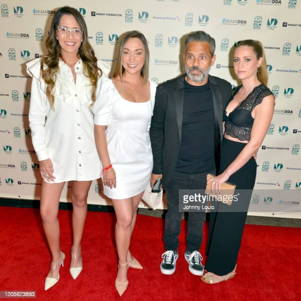 Kristy Espinoza Yulma García Director Julio Mendez and Kerly Ruiz from short film 'God Is Not to Blame' are seen during 37th Annual Miami Film...