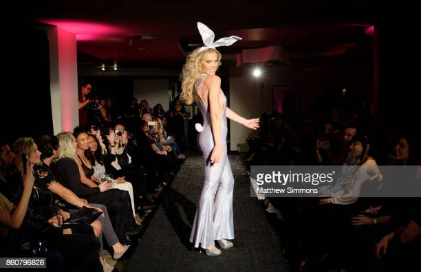 Kristy Garett walks the runway for Yandy's Annual Halloween Fashion Show at Playboy World Headquarters on October 12 2017 in Beverly Hills California