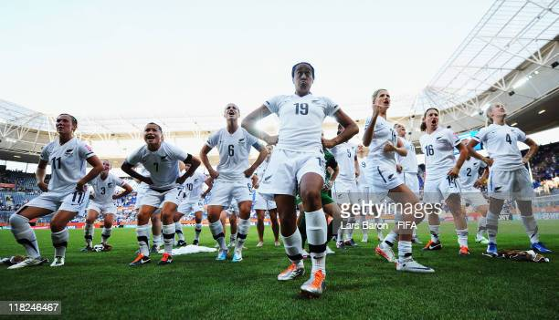 Kristy Hill of New Zealand and her team mates perform the Haka after the FIFA Women's World Cup 2011 Group B match between New Zealand and Mexico at...