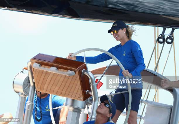 Kristy Hinze Australian model and the wife of Silicon Valley billionaire Jim Clark helms a J Class yacht during a J Class demonstration race during...