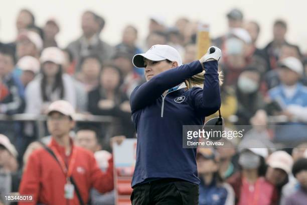Kristy McPherson of the United States tees off during the final round of the Reignwood LPGA Classic at Pine Valley Golf Club on October 6 2013 in...