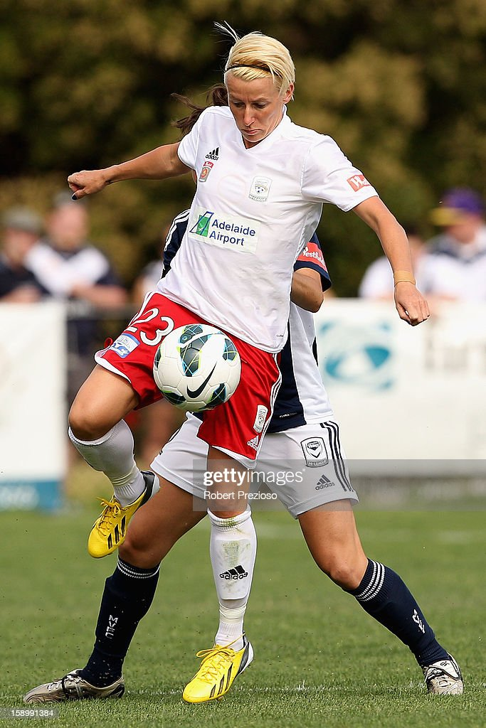 Kristy Moore of Adelaide controls the ball during the round 11 W-League match between the Melbourne Victory and Adelaide United at Wembley Park on January 5, 2013 in Melbourne, Australia.