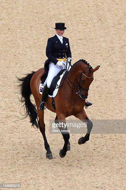 Kristy Oatley of Australia riding Clive competes in the Dressage Grand Prix on Day 6 of the London 2012 Olympic Games at Greenwich Park on August 2...