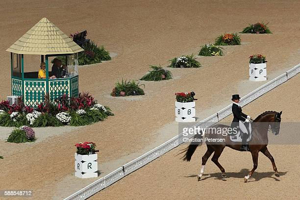 Kristy Oatley of Australia riding Du Soleil competes in the Mens/Womens Team Dressage Grand Prix event on Day 6 of the Rio 2016 Olympic Games at the...