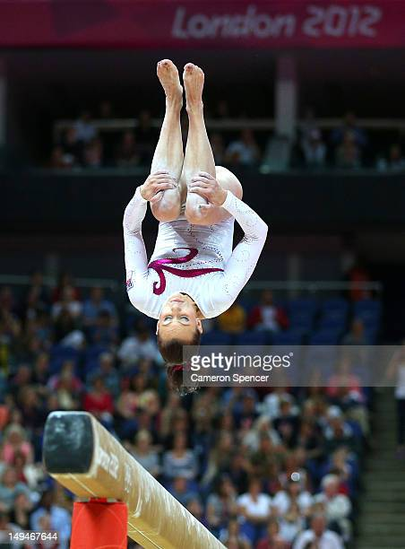Kristyna Palesova of Czech Republic competes on the beam in the Artistic Gymnastics Women's Team qualification on Day 2 of the London 2012 Olympic...