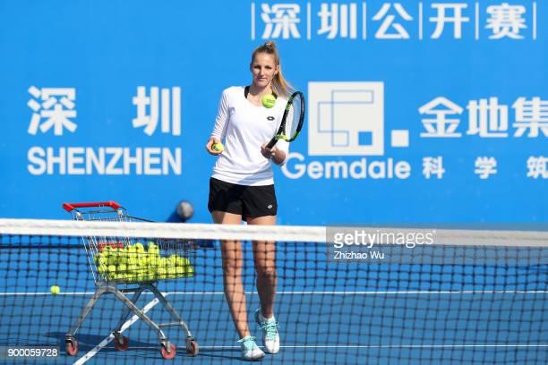 Kristyna Pliskova attends the Kid's Day during the 2018 WTA Shenzhen Open at Longgang International Tennis Center on December 31 2017 in Shenzhen...